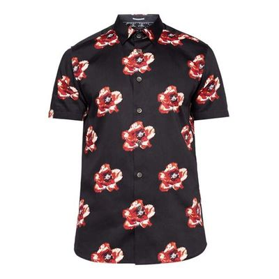 Men's Ted Baker Silky Floral Print Cotton Shirt, Blue