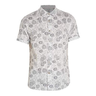Men's Ted Baker Teval Floral Print Cotton Shirt, White