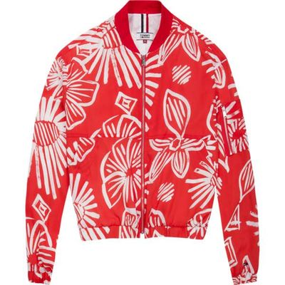 Tommy Hilfiger Tommy Jeans Summer Floral Print Bomber, Bright Red