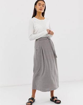 ASOS DESIGN wrap D-ring midi skirt in jersey with pockets