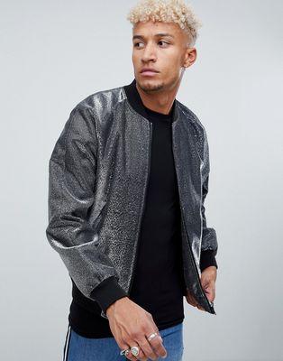 ASOS DESIGN bomber jacket in silver metallic - Silver