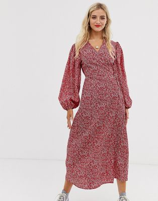 Glamorous midaxi wrap dress in ditsy floral