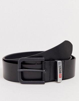 Diesel contrast logo buckle leather belt in black