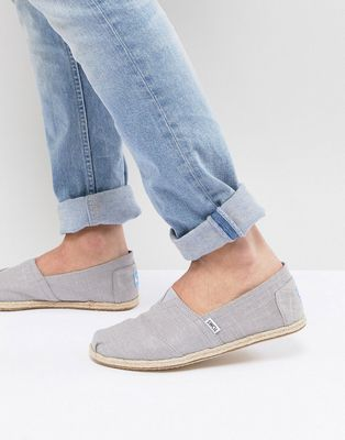 TOMS espadrilles in grey linen with rope detail