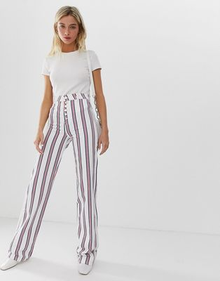 ASOS DESIGN Full length flare jeans in stripe with exposed fly detail