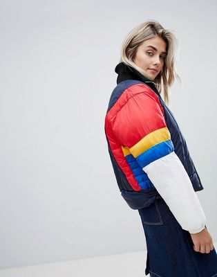Tommy Jeans colourblock padded jacket - Black iris / multi