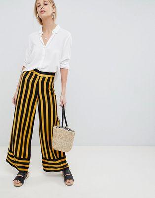 ASOS DESIGN tailored bumblebee stripe soft wide leg - Stripe