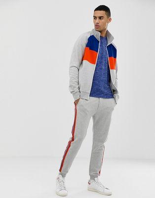 Tom Tailor colour block track jacket in grey