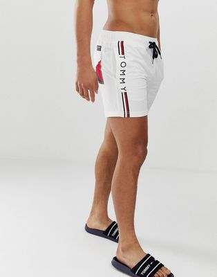 Tommy Hilfiger medium drawstring swim shorts with side logo and icon flag in white