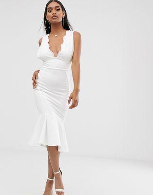 ASOS DESIGN lace top bandage midi dress