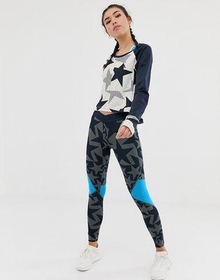 adidas Training Star Print Leggings In Grey