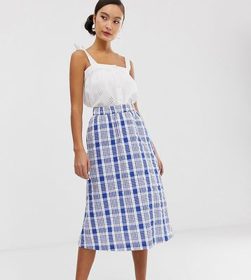 Monki farm check midi skirt in blue and white