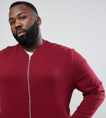 ASOS DESIGN Plus Jersey Bomber Jacket In Burgundy - Cabernet