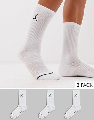 Nike Jordan 3 pack crew socks with logo in white