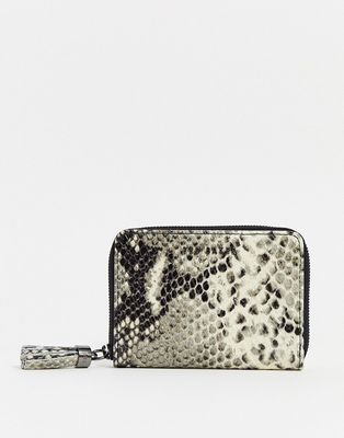 Ted Baker jet tassel zip around small purse in snake
