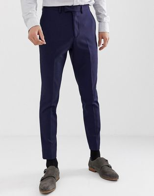 Moss London muscle fit suit trousers in navy