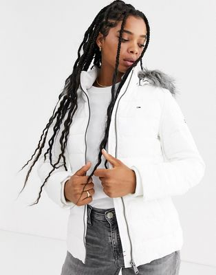 Tommy Jeans recycled padded jacket with faux fur hood
