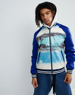 ASOS DESIGN Varsity Bomber Jacket With Print In Blue - Blue