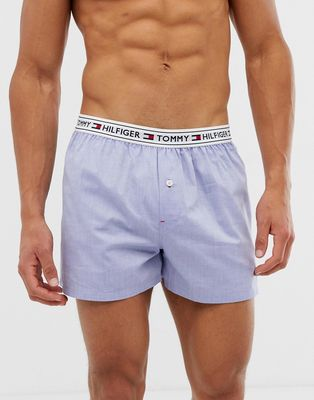 Tommy Hilfiger woven boxer shorts with contrast flag logo waistband in blue