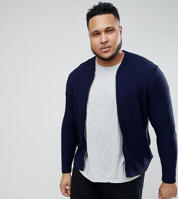 ASOS PLUS Knitted Bomber Jacket In Navy - Navy