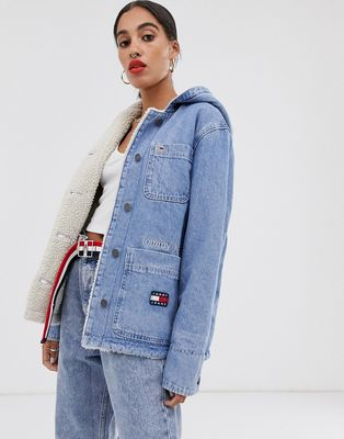 Tommy Jeans denim jacket with sherpa lining