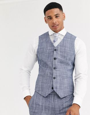 ASOS DESIGN wedding super skinny suit waistcoat in dark blue crosshatch