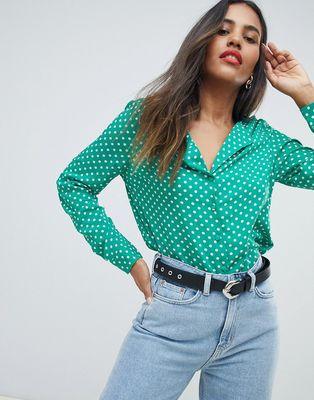 Vila spotty relaxed collar blouse