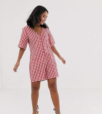 Glamorous Petite relaxed button through swing playsuit in gingham