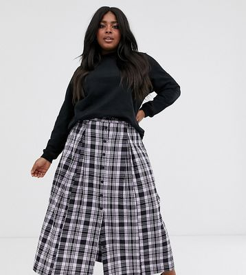 ASOS DESIGN Curve check midi skirt with button front