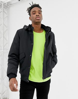 YOURTURN bomber jacket in black with borg lined hood - Black