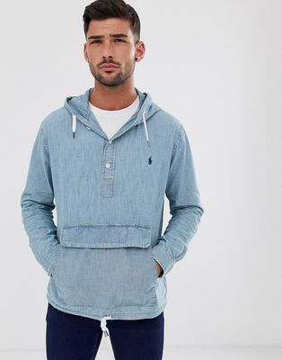 Polo Ralph Lauren chambray overhead hooded jacket in light wash