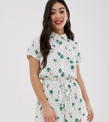 Glamorous Petite shirt playsuit in palm spot print