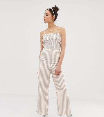Glamorous Tall cami jumpsuit with shirring in natural stripe