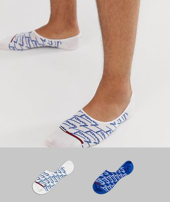 Tommy Jeans 2 pack all over logo invisible socks in blue