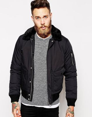 Schott Bomber Jacket with Faux Fur Collar