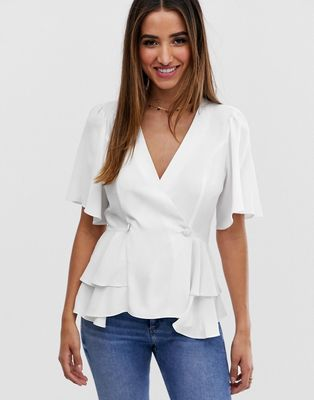 ASOS DESIGN tux top with angel sleeve and button detail