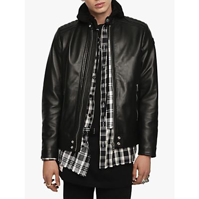 Diesel L-Shiro Panelled Nappa Biker Jacket, Black