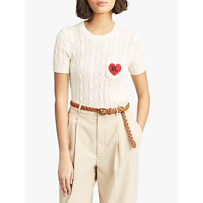 Polo Ralph Lauren Heart Short Sleeve Jumper, Cream/Red
