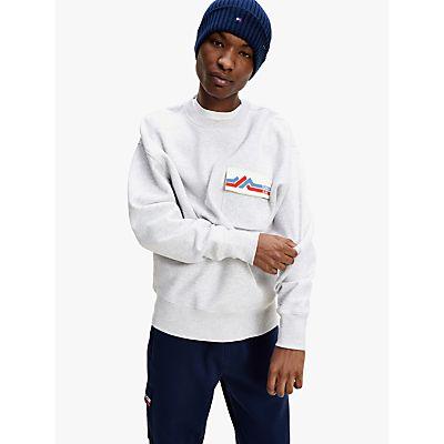 Tommy Jeans Logo Pocket Sweatshirt, Silver Grey