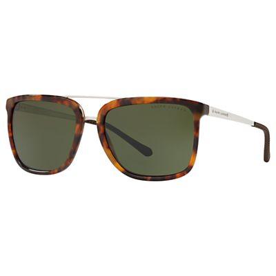 Ralph Lauren RI8164 Men's Square Polarised Sunglasses, Tortoiseshell/Green