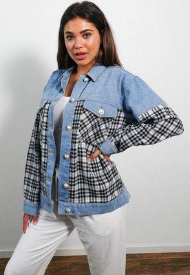 Light Blue Check Mix Denim Jacket, Blue