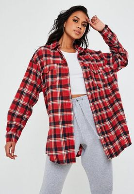 Red Oversized Checked Shirt, Red