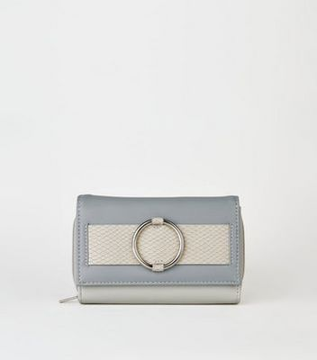 Pale Blue Colour Block Ring Front Purse New Look