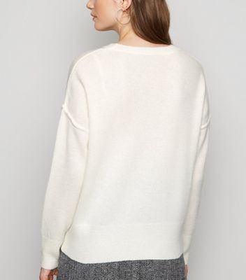 Off White Exposed Seam Jumper New Look