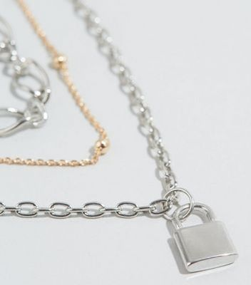 Multicoloured Mixed Layered Chain Necklace New Look
