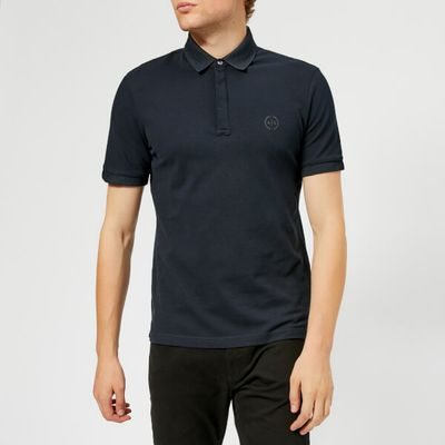 Armani Exchange Men's Waffle Collar Slim Polo Shirt - Navy
