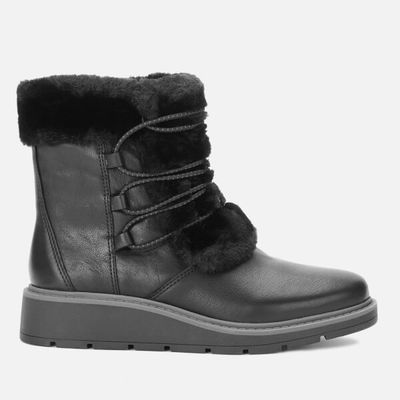 Clarks Women's Ivery Jump Leather Winter Boots - Black