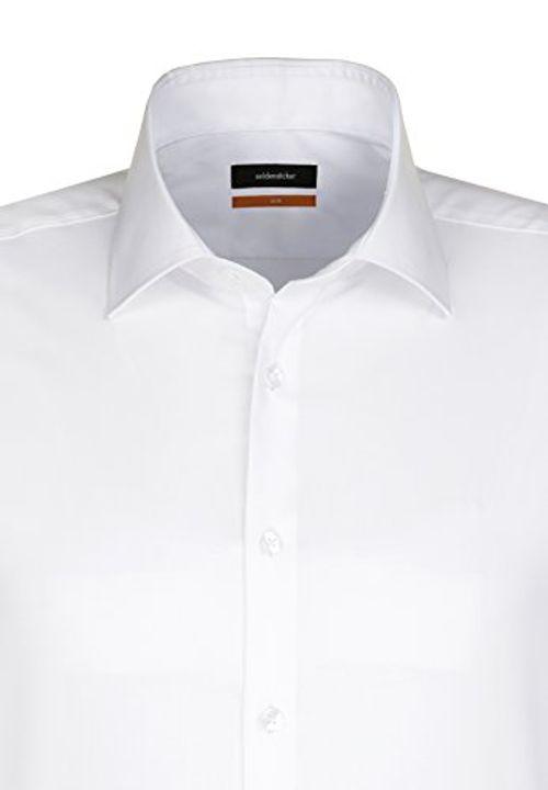 photo Wallpaper of Seidensticker-Seidensticker Herren Business Hemd Slim Fit Langarm Uni Mit Kent-Weiß (Weiß 01)