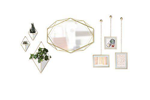 photo Wallpaper of Umbra-Umbra Trigg Wandvase & Geometrische Deko – Übertopf Für Zimmerpflanzen, Sukkulenten, Luftpflanzen, Kakteen,-Grau / Kupfer