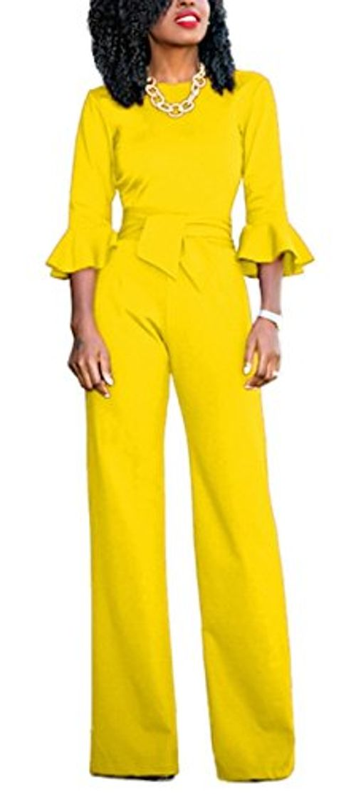 photo Wallpaper of Foluton-Foluton Damen Elegant Stillvoll Overall Jumpsuit Einteiler Mit 3/4 Ärmel Hohe-